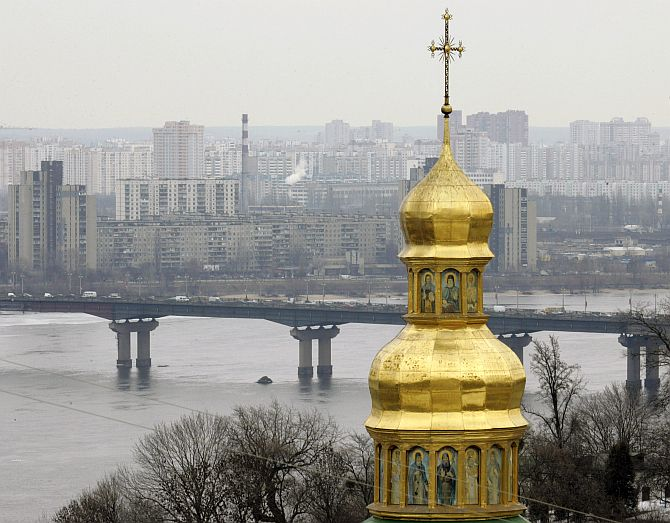 The Cave Monastery towers over Kiev. Its golden domes have towered over the Ukranian capital for a millennium.