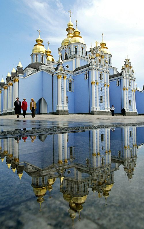 The St Michael Golden Cupolas Cathedral in Kiev. The cathedral, errected in the 12th century, was destroyed by the Soviet authorities in 1935-1936 and fully re-built in 1997-1998.