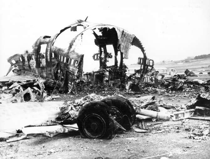 562 people died in the world's worst-ever air disaster when a KLM 747 jumbo jet collided with a Pan-Am 747 jumbo on the runway of Santa Cruz Airport, Tenerife.
