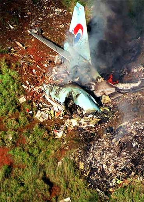 The wreckage of Korean Air Lines Flight 007