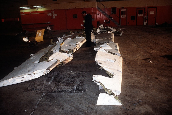 Wreckage from an Arrow Air DC-8 commercial aircraft is stored in a Gander Airport hangar for analysis by members of the Canadian Air Safety Board