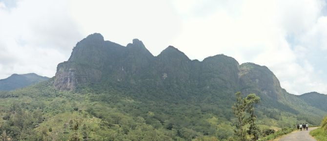 A panoramic view of the Saptha Kanya mountain range in Sri Lanka