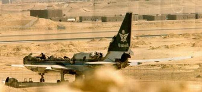 Charred remains of Saudia Flight 163