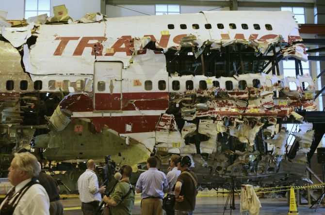 The remains of the TWA Flight 800 from New York to Paris that exploded off Long Island, New York, reassembled from recovered wreckage, on display at National Transportation Safety Board Training Facility in Ashburn, Virginia