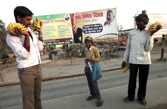 Vendors wait for customers in Hajipur.