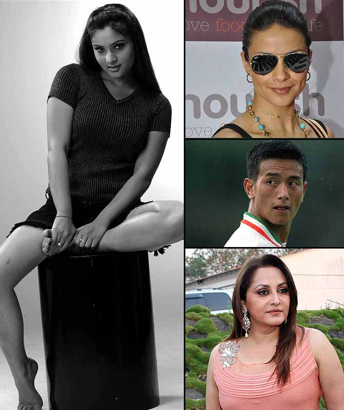 (Clockwise from left) Actress-cum-MP Divya Spandana, popularly know as Ramya, actress Gul Panag, footballer Baichung Bhutia and Jaya Prada