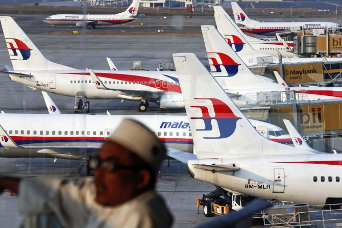 Malaysia Airlines planes are seen on the tarmac at the Kuala Lumpur International Airport on Wednesday.