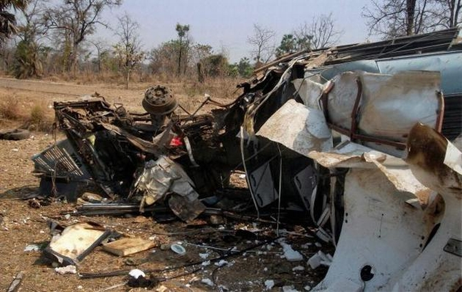 The remains of the bus which came under attack in Gadchiroli