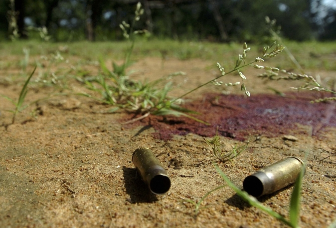 Spent cartridges are left near Lahiri sub police station, where policemen were killed in a Maoist attack in Gadchiroli district