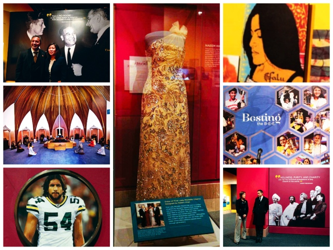 Located on the second floor of the Smithsonian's Natural History Museum, the exhibition comprises of seven sections: Migration, Early Immigration, Working Lives, Arts and Activism, Yoga, Religion and Spirituality, Cultural Contributions in Food, Music, Dance and Groundbreakers.