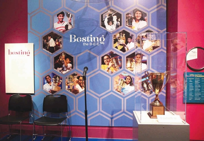A recreation of the National Spelling Bee stage. The trophy won by Balu Natarajan in 1985 is also displayed.