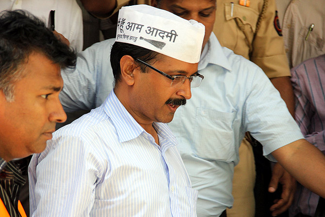 AAP leader Arvind Kejriwal after his interaction with businessmen.
