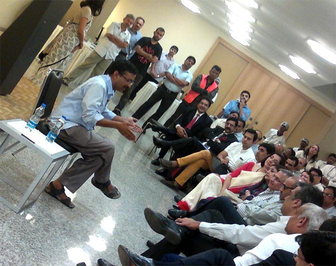 Kejriwal interacts with businessmen at Bajaj Bhavan, Mumbai.