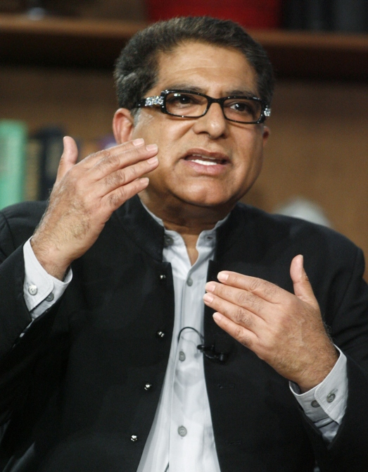 Deepak Chopra speaks at a panel discussion in Beverly Hills, California.