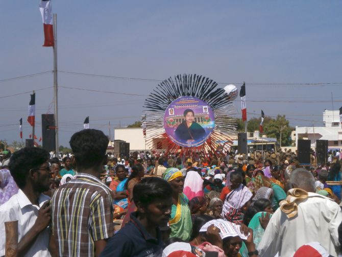A section of the crowd at the AIADMK's Tuticorin election rally.