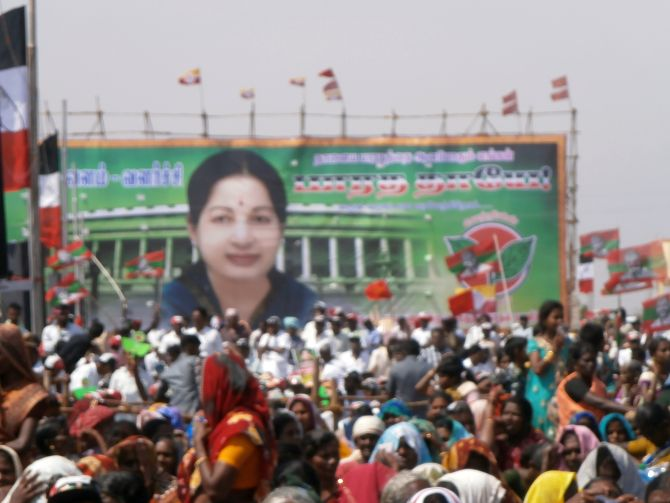 A banner of Tamil Nadu Chief Minister Jayalalithaa at her election rally in Tuticorin on Friday, with Parliament as the backdrop.