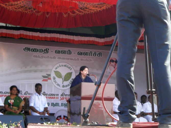 Tamil Nadu Chief Minister Jayalalithaa addressing an election rally in Tuticorin on Saturday.