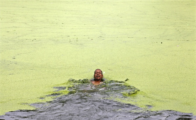 A man swims in the polluted waters of a pond on the outskirts of Kolkata.