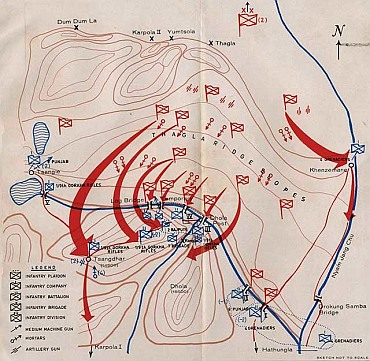 Brig John Dalvi's map of the Operations in Thagla ridge sector