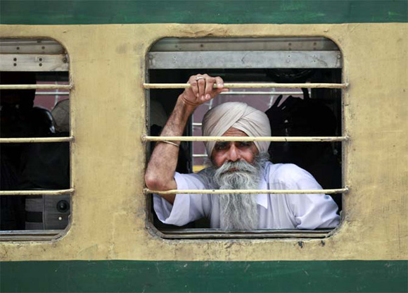 A Sikh pilgrim arrives at the Wagah border to attend the Baisakhi festival.