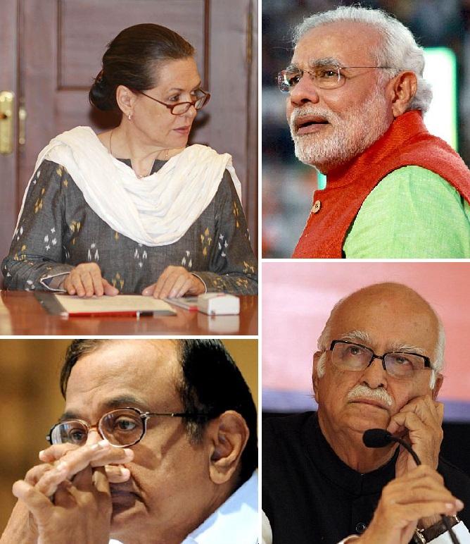 (Clockwise) Congress chief Sonia Gandhi, BJP's Narendra Modi and L K Advani and Finance Minister P Chidambaram