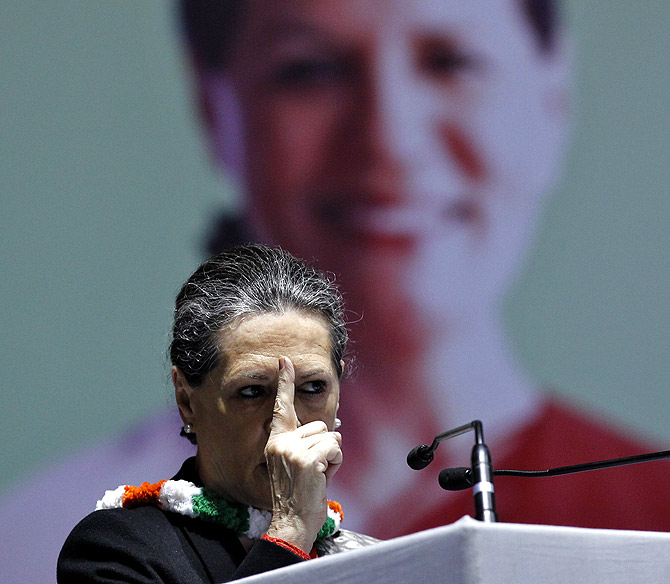 Congress chief Sonia Gandhi speaks at a party meet in New Delhi