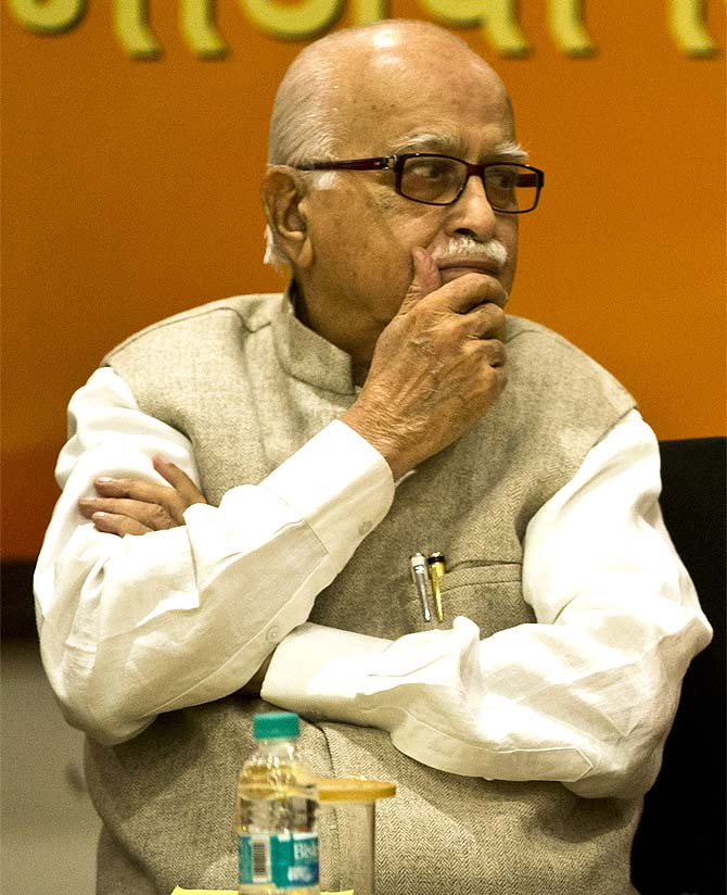 BJP veteran leader L K Advani at a meeting in New Delhi