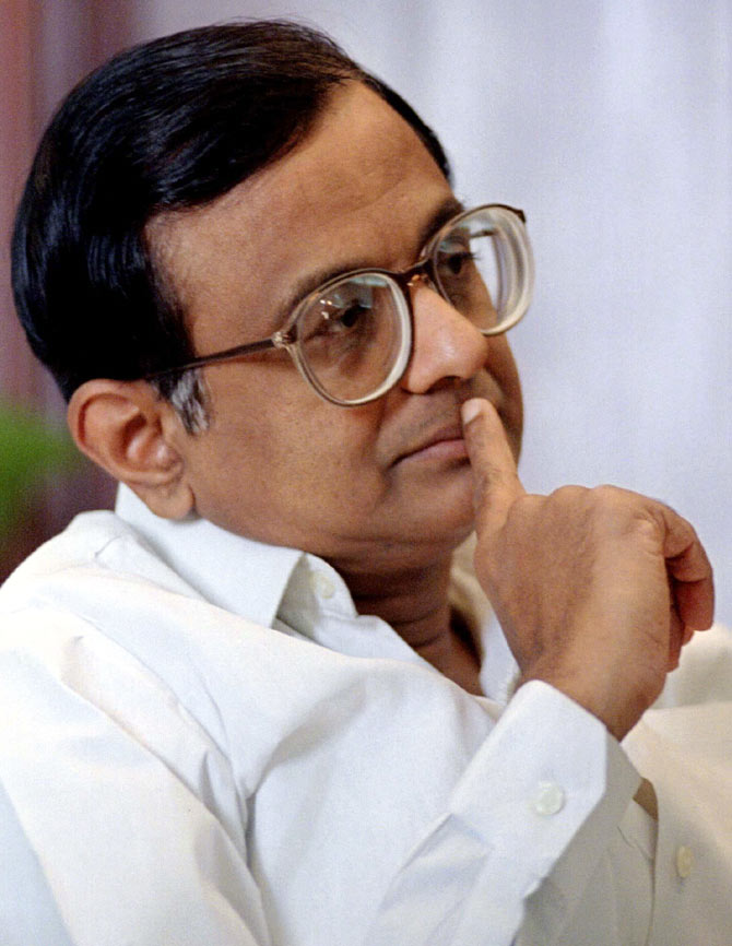 Finance Minister P Chidambaram ponders during an interview in New Delhi