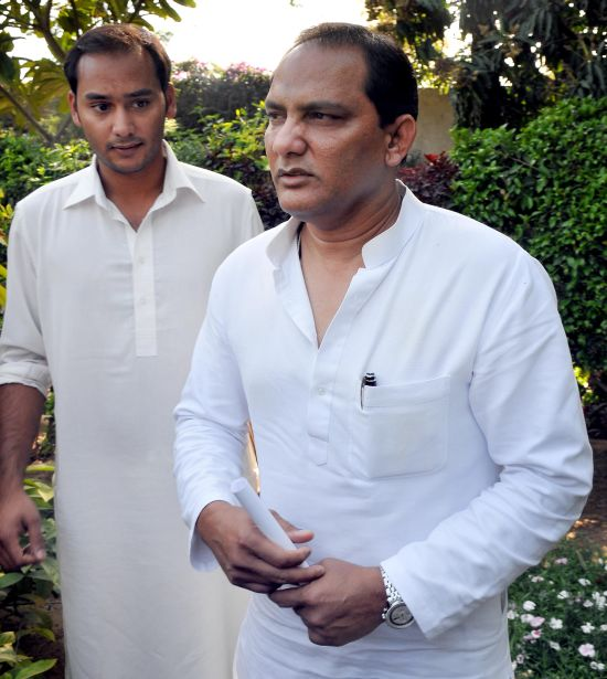 Azharuddin with his son Asaduddin in Jaipur