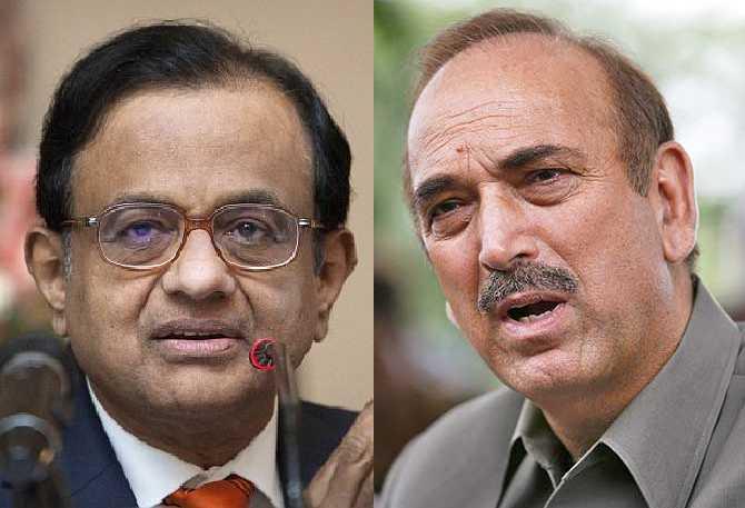 Union ministers P Chidambaram and Ghulam Nabi Azad