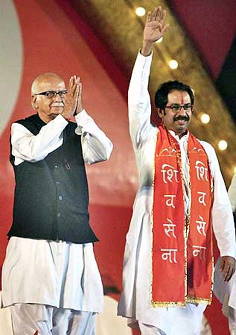 L K Advani and Shiv Sena chief Uddhav Thackrey in an election rally in Mumbai in 2009