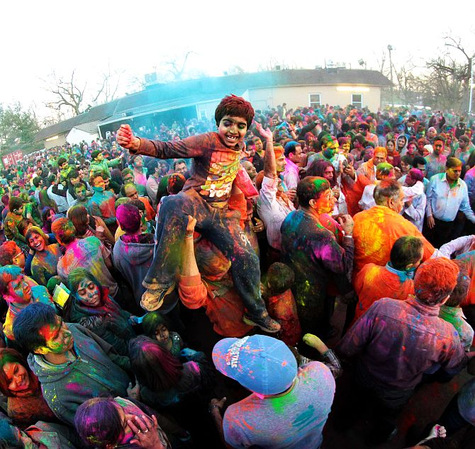 Indian Americans celebrate Holi at Dwarkadhish Temple in New Jersey on March 22
