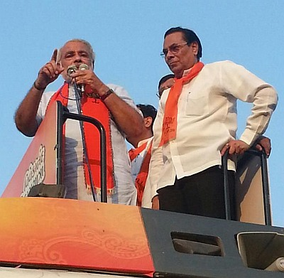 Narendra Modi, left, with Harin Pathak, the MP from Ahmedabad East, who was denied a ticket.