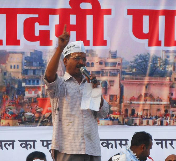 Arvind Kejriwal addressing AAP supporters at a rally in Varanasi on Tuesday