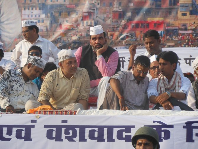 AAP leaders at the rally in Varanasi