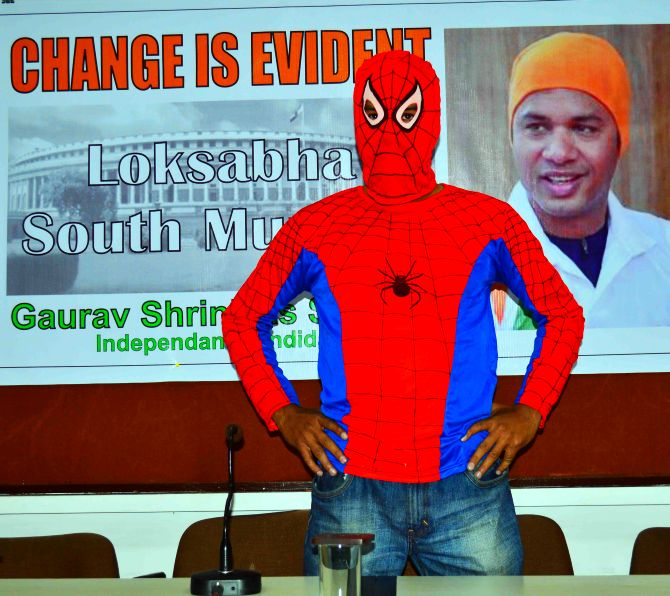 'Spidey' Gaurav Sharma, independent candidate from South Mumbai Lok Sabha constituency, at a media conference on Tuesday
