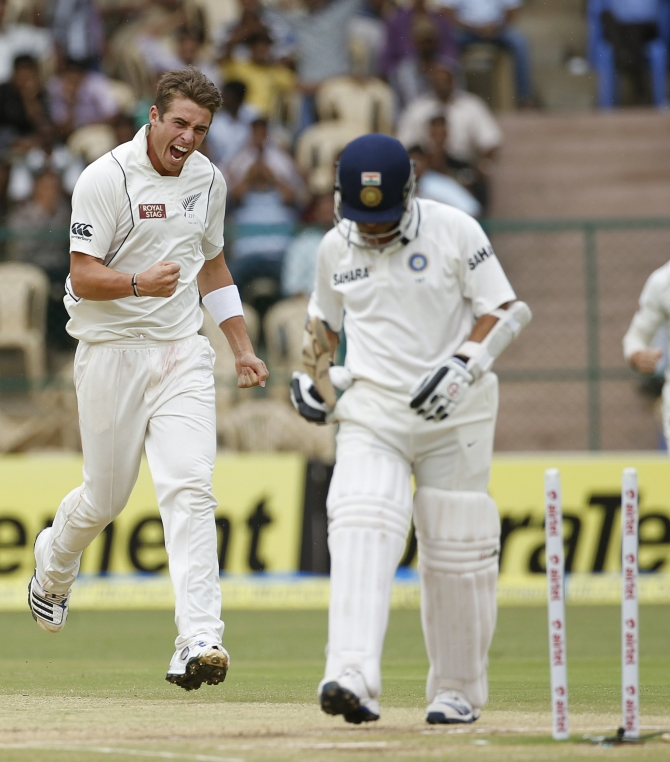 Sachin Tendulkar walks off the field after losing his wicket in Bangalore in September 2012