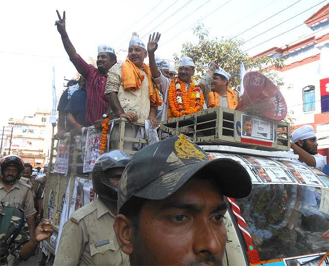 Arvind Kejriwal in Varanasi on March 25, 2014. Photograph: Sandeep Pal