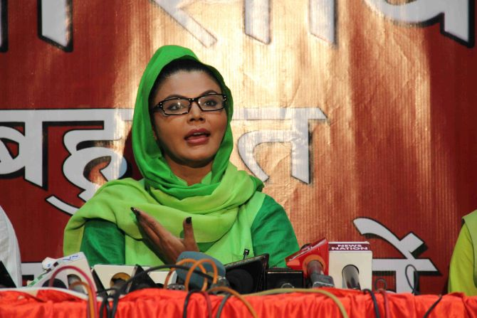 Rakhi Sawant interacting with mediapersons on her political plans, in Mumbai on Wednesday