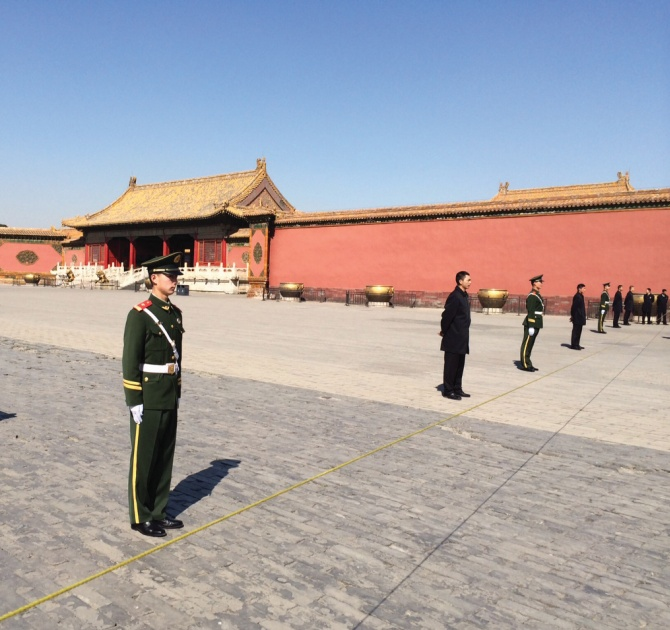 Guards at the Forbidden City in Beijing.