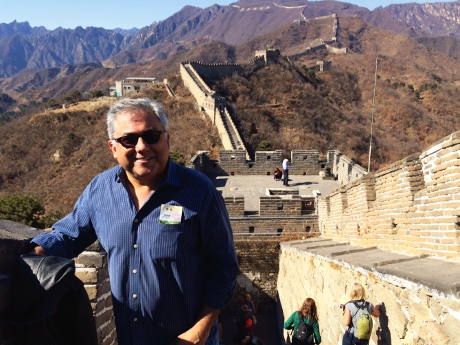 Aseem Chhabra at the Great Wall of China.