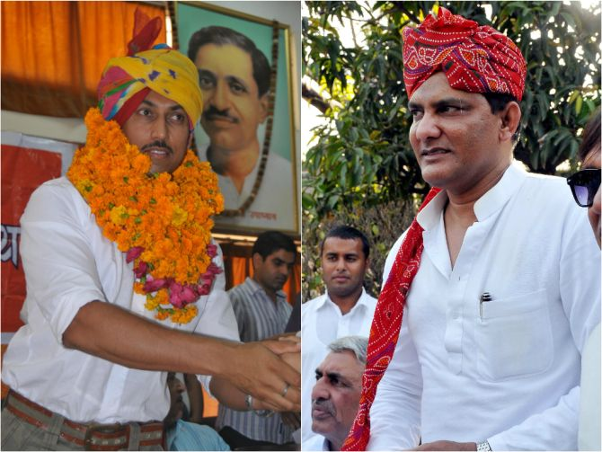 Rajyavardhan Singh Rathore and Mohd Azharuddin on campaign trail in Rajasthan