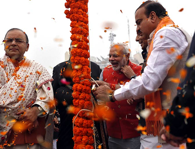 Narendra Modi with Arun Jaitley, Ananth Kumar and Rajnath Singh at the Ramlila ground in New Delhi.