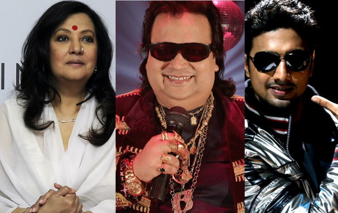 (Left) Moon Moon Sen (Centre) Bappi Lahiri (Right) Dev