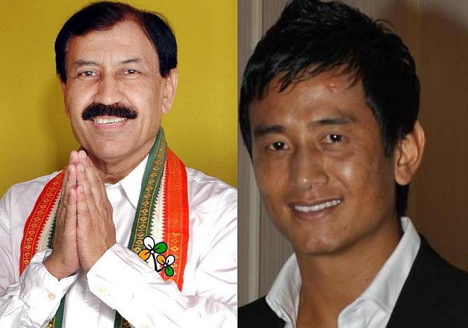 Footballers Prasun Banerjee (left) and Baichung Bhutia