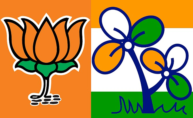 (Left) BJP symbol; (Right) The Trrinamool Congress symbol