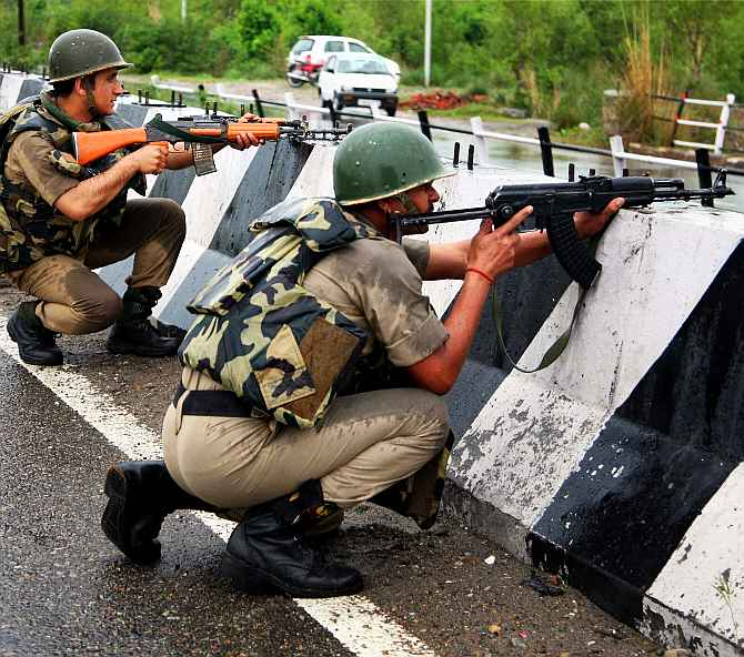Soldiers engage in a gun-battle with suspected LeT terrorists at Katha near Jammu on Friday