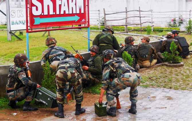 Terrorists go on bloody rampage near Jammu Soldiers engage in a gun-battle with suspected LeT terrorists at Katha near Jammu on Friday