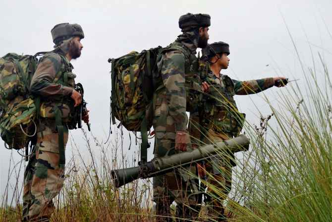 Soldiers engaging in an encounter with suspected LeT terrorists at Katha near Jammu on Friday