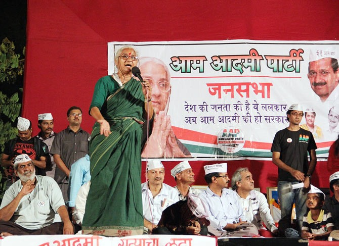 Medha Patkar addresses a rally in Kanamwar Nagar in suburban Vikhroli.
